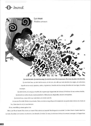 "Multiprise, revue n°30 Illustration du texte ""La Mue"" de Capucine Moreau ; collage extrait du zine ""Becky Kill! Kill!"" (2012)"